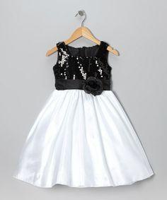 Loving this Black & White Sequin Dress - Toddler & Girls on #zulily! #zulilyfinds