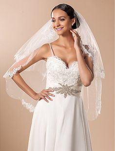 Venus Bridal Wedding Veil with Lace Edge and Comb Attached (white) -- Read more details by clicking on the image. #hairideas