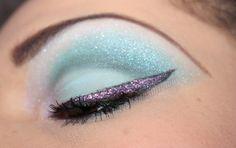 Glittery blue and pink bright eye makeup. www.beautysbadhabitblog.blogspot.com