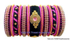 Yaalz Partywear Bangles Set In Pink & Black Colors Silk Thread Bangles Design, Silk Bangles, Silk Thread Earrings, Bridal Bangles, Thread Jewellery, Beaded Necklace Patterns, Bangles Making, Bangle Set, Black Colors