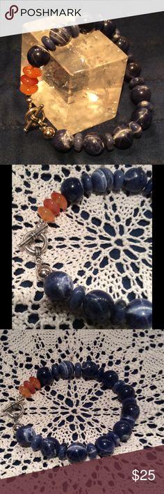 Sodalite, carnelian, and sterling silver bracelet! Sodalite, carnelian, and sterling silver bracelet! Precious, handmade, NWOT. Jewelry Bracelets