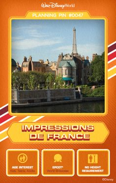 Walt Disney World Planning Pins: Impressions de France: : An film showcasing the grandeur, charm and romance of one of Europe's most enchanting countries. Epcot Attractions, Disney World Attractions, Disney World Theme Parks, Walt Disney World Vacations, Disney Travel, Disney Parks, Disney World Tips And Tricks, Disney Tips, Disney Fun