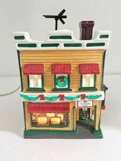 Dept 56 Original Snow Village Al's TV Shop Building w Light Cord 5423-2