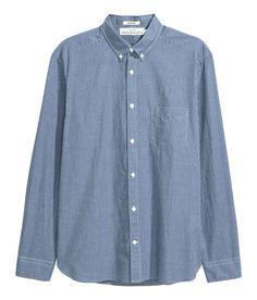 Bomullsskjorta Regular fit | Mörkblå/Rutig | Herr | H&M SE