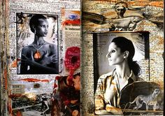 Pages from one of Peter Beard's intricate travel journals