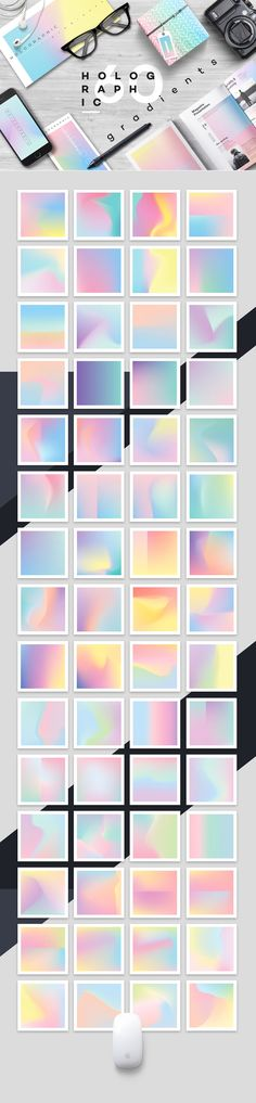 Holographic gradients for EPS and JPG use for designers and more. Super trendy holographic look. $20 #affiliate