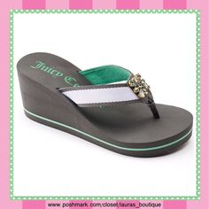 """Juicy Couture Gray/Green w/Rhinestones Sandals HPNWT Juicy Couture gray/green rhinestone wedge sandals! Features stunning rhinestone, fabric strap/toe post give added comfort, padded footbed & outsole provide stability. Fabric upper/lining, EVA outsole, 3"""" heel, .38"""" platform.  *M 7-8 (Purchase Size 8 listing) *L 9-10 *XL 11  *Size down if 1/2 size *Pink/White & Pink/black available in separate listing to buy & bundle! *Bundle discounts, smoke-free, no trades️ Juicy Couture Shoes Sandals"""