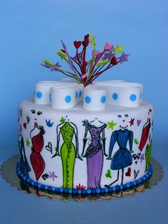 Fashion cake - could modify to paint girly spa-themed items around the cake Pretty Cakes, Cute Cakes, Beautiful Cakes, Amazing Cakes, Fashionista Cake, Hand Painted Cakes, Dress Cake, Fashion Cakes, Pastry Cake