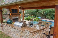 Outdoor Kitchen Patio, Outdoor Kitchen Design, Patio Design, Backyard Patio, Home Design, Indoor Outdoor, Outdoor Living, Outdoor Decor, Design Ideas