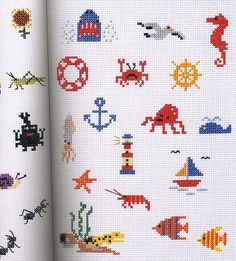Nautical themed mini-cross stitch patterns