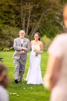 entry, bride and father, father of the bride, walking down the aisle, outdoor wedding ceremony, candid photography, photojournalism, beautiful wedding, gorgeous photos ::Katy + Jared's wedding at the Estate at Moraine Farm in Beverly, MA:: with Graham