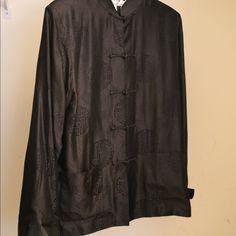 Chinese Men's Satin Jacket Black. Kung-Fu Jacket. Gio Collection Shirts