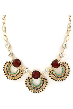 Necklace Dotted in Wine, Clear and Sapphire Crystals with Turquoise and Ashen Polished Beads |Jewelry - Daily Deals|