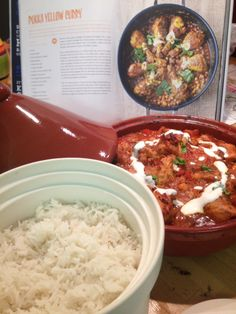 Testing the gorgeous Tagine from Jamie at Home, with curry from Save With Jamie, and rice perfectly cooked in the ceramic rice pot...