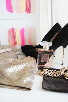 Sexy pumps, sequins & Coco Mademoiselle Perfume, j'adore!