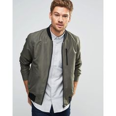ASOS Bomber Jacket With Zip Chest Pocket In Khaki (1,585 DOP) ❤ liked on Polyvore featuring men's fashion, men's clothing, men's outerwear, men's jackets, green, mens fitted leather jacket, mens green bomber jacket, mens lightweight jacket, mens tall jackets and mens green jacket