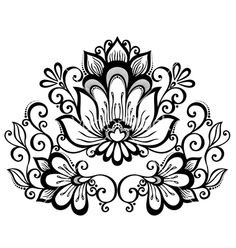Beautiful decorative flower with leaves vector by Krivoruchko on VectorStock®