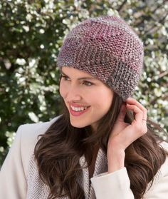 Shaded Mitered Hat Free Knitting Pattern from Red Heart Yarns
