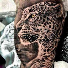 Cheetah tattoo - meaning, history, 18 photos, The meaning of tattoos - Tiger Tattoo, Jaguar Tattoo, Big Cat Tattoo, Black Art Tattoo, Tattoo Bein, Black Tattoos, Cute Tattoos, Leg Tattoos, Beautiful Tattoos