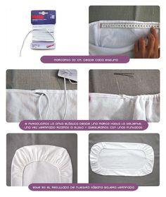 sabanas moises DIY 4 Cómo hacer un juego de sábanas para moisés o cochecito Baby Sewing Projects, Sewing Hacks, Baby Doll Bed, Baby Sheets, Moise, Sewing Class, Diy Pillows, Baby Decor, Sewing Techniques