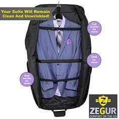 ZEGUR Kleidersack Anzughülle für bis zu 3 Anzüge, Kleiderhülle Handgepäckstück für jede Reise Geschäftsreise - mit verstellbarem Schultergurt und mehreren Taschen für weitere Gegenstände - Schwarz: Amazon.de: Koffer, Rucksäcke & Taschen