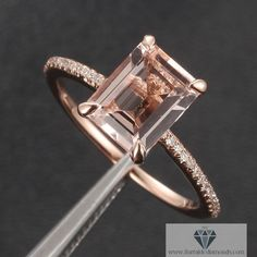 Emerald Cut Morganite Solitaire Engagement Ring Diamond Pave Rose Gold