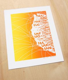 West Coast Airport Code Linocut Print By Boarding All Rows Featuring San Francisco Sfo