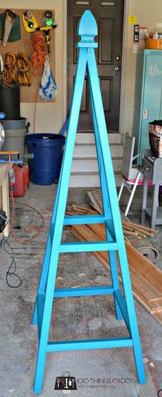 DIY tutorial for Garden tuteur (obelisk) for your climbing vines. Tuteur, garden art, garden obelisk, trellis
