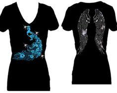 Peacock Angel WIngs V Neck Short Sleeve Womens Bling Glitter Tee Shirt
