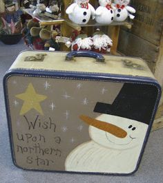 Country Lane Crafts and Antiques: Vintage suitcases Christmas Signs, Christmas Snowman, Christmas Projects, Holiday Crafts, Christmas Holidays, Christmas Decorations, Holiday Ideas, Painted Suitcase, Vintage Suitcases