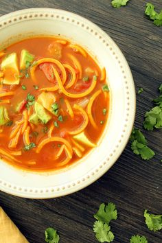 "Mexican ""Sweet Potato Fideos"" Soup with Avocado"