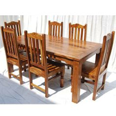 Rustic Solid Wood Dallas Dining Table with Chairs Set - Esstisch Dining Room Table Legs, Rustic Dining Table Set, Wooden Dining Table Designs, Dining Room Furniture Design, Wood Chair Design, Solid Wood Dining Set, Farmhouse Table Chairs, Country Dining Rooms, Table Top Design