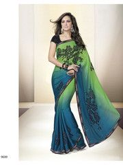 Ftrendy Blue with green, black Embroidered Satin georgett Saree