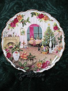 "ROYAL ALBERT OLD COUNTRY ROSES 1988 ""CHRISTMAS MAGIC"" PLATE BONE CHINA ENGLAND"