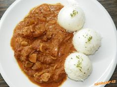 Hovězí stroganoff v pomalém hrnci Crockpot, Curry, Eggs, Menu, Breakfast, Ethnic Recipes, Food, Menu Board Design, Essen