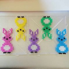 ^ Melt Beads Patterns, Beading Patterns, Hama Bead Boards, Pearler Beads, Fuse Beads, Easter Art, Easter Crafts, Pony Beads, Melting Beads