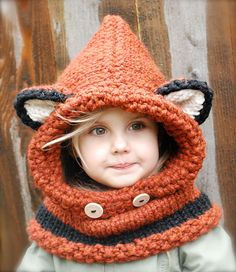 Women's Winter Hats 2016 fox scarf hat autumn winter scarf wool knitted cap baby winter hat balaclava children's hats new Year - Kapuzenschal Stricken Fox Scarf, Fox Hat, Scarf Hat, Baby Scarf, Bonnet Crochet, Knit Crochet, Crochet Hats, Crochet Winter, Free Crochet