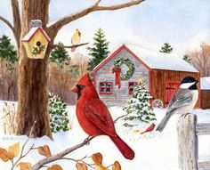 Cardinal, Chickadee & Christmas Barn Poster Print by Maureen Mccarthy Animal Art Bird Seasonal Winter Modern Cardinal Chickadee Holiday Christmas American Regionalism Scene Wonderland Other Christmas Farm, Christmas Scenes, Christmas Animals, Christmas Time, Illustration Noel, Illustrations, Barn Art, Winter Art, Christmas Paintings
