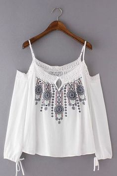 White Off Shoulder Embroidery Long Sleeve Cami Top with Tie Detail - US$21.95 -YOINS