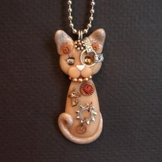 polymer clay angel | Steampunk Sphynx Kitty Cat Necklace Polymer Clay ... | Crafts & Hob...