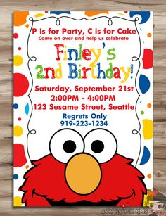 Hey, I found this really awesome Etsy listing at http://www.etsy.com/listing/161257434/elmo-birthday-invitation-elmo-birthday