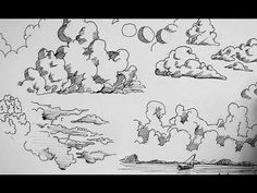 Pen and Ink Drawing Tutorials | How to draw clouds - YouTube