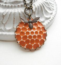 Honeycomb Bee Honey Necklace Orange Botanical by AnechkasJewelry, $26.00