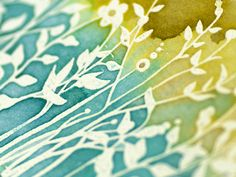 watercolour love, emboss with clear or white and paint over