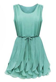 Green Sleeveless Ruffles Pleated Chiffon Dress