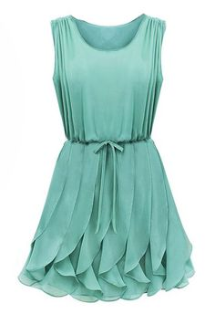 Green Sleeveless Ruffles Pleated Chiffon Dress - Sheinside.com