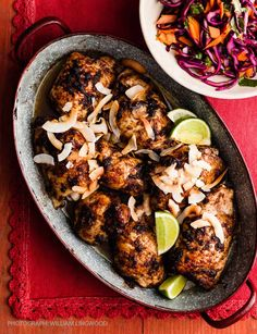Coconut jerk chicken with spicy slaw Also try www. Duck Recipes, Indian Food Recipes, Gourmet Recipes, Chicken Recipes, Dinner Recipes, Healthy Recipes, Dinner Ideas, Carribean Food, Caribbean Recipes