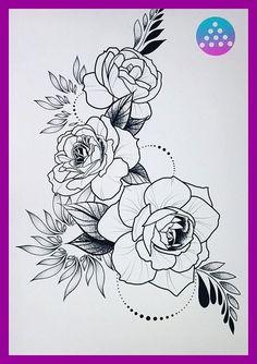 My ideas - Rajzok - Rose Tattoos, Flower Tattoos, Body Art Tattoos, Tattoo Drawings, Sleeve Tattoos, Tattoo Stencils, Cover Tattoo, Future Tattoos, Shoulder Tattoo