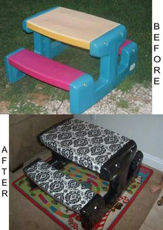 Caroline's Crafty Corner: Recover an old kids plastic picnic table with fabric covered in vinyl. Caroline's Crafty Corner: Recover an old kids plastic picnic table with fabric covered in vinyl. Do It Yourself Furniture, Do It Yourself Home, Kids Furniture, Redoing Furniture, Trendy Furniture, Furniture Dolly, Furniture Movers, Refurbished Furniture, Furniture Online