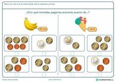 Ficha de hallar el precio exacto para primaria Maila, Learning Apps, Primary Maths, Educational Games, Teaching Math, Math Activities, Euro, Infants, Mathematics